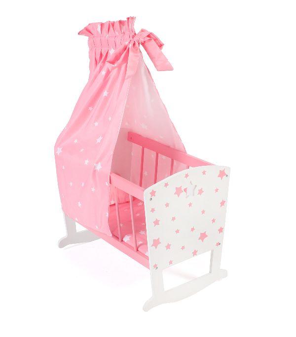 Houten Poppenwieg Pink Stars