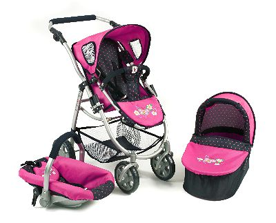 Combi Poppenwagen Emotion Dots Navy Pink