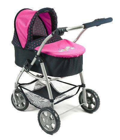 All in 1 combi poppenwagen Emotion Dots Navy Pink