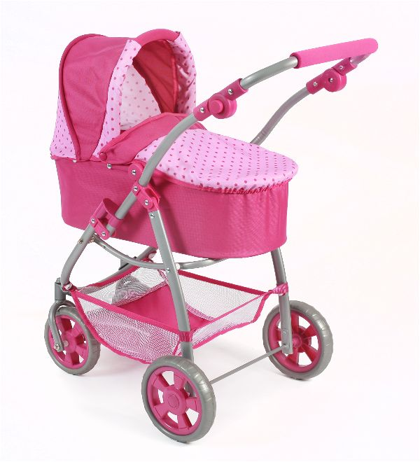 All in 1 combi poppenwagen Emotion Dots Pink