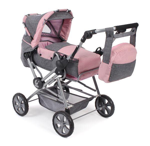 Luxe grote poppenwagen Road Star Melange Grijs Roze