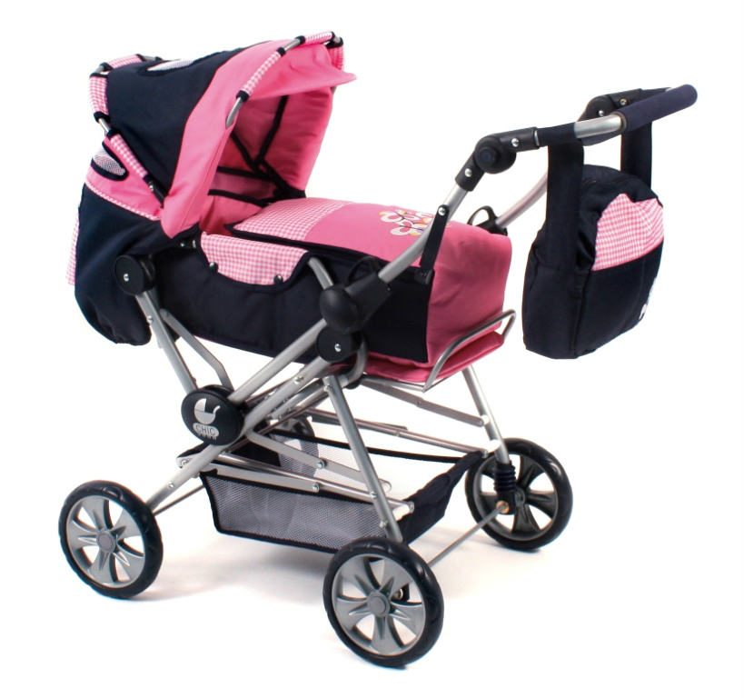 Luxe grote poppenwagen Road Star Pink Checkered