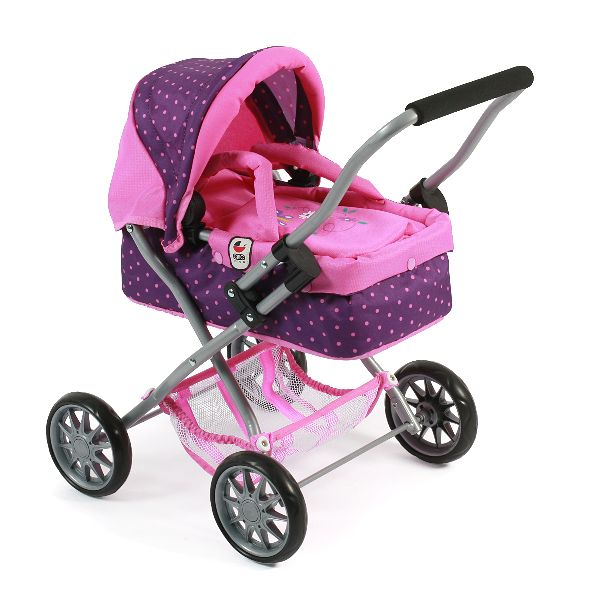 | Poppenwagen Smarty Dots Purple Pink