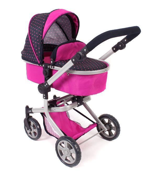 Combi poppenwagen Mika Dots Navy Pink