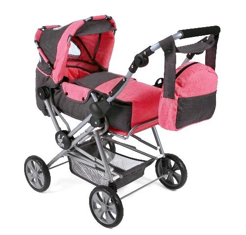 Luxe grote poppenwagen Road Star Melange Antraciet Pink
