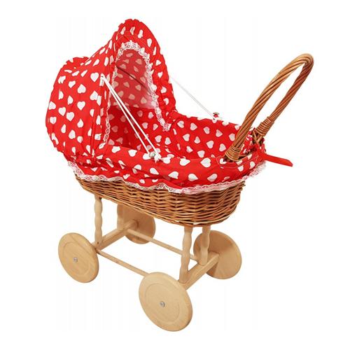 Rieten poppenwagen Rood met grote witte hartjes Houten wielen