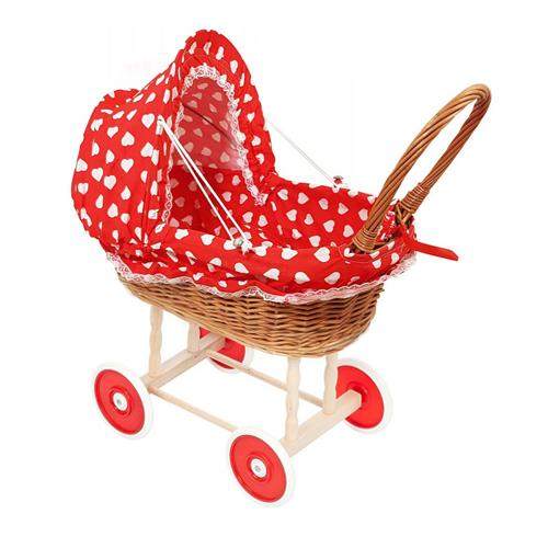 Rieten poppenwagen Rood met grote witte hartjes Kunststof wielen