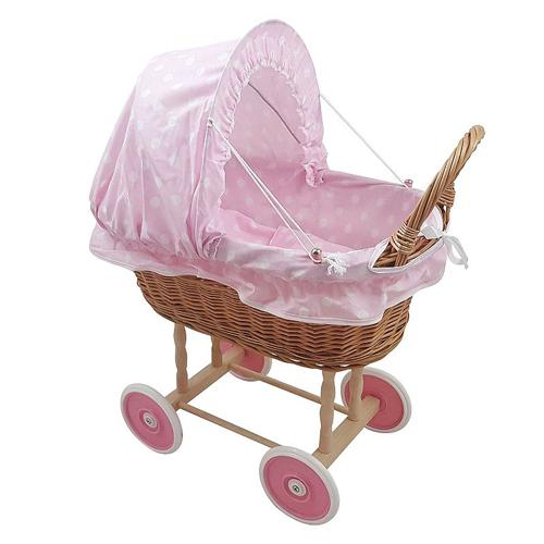 Rieten poppenwagen Roze met witte stip Kunststof wielen