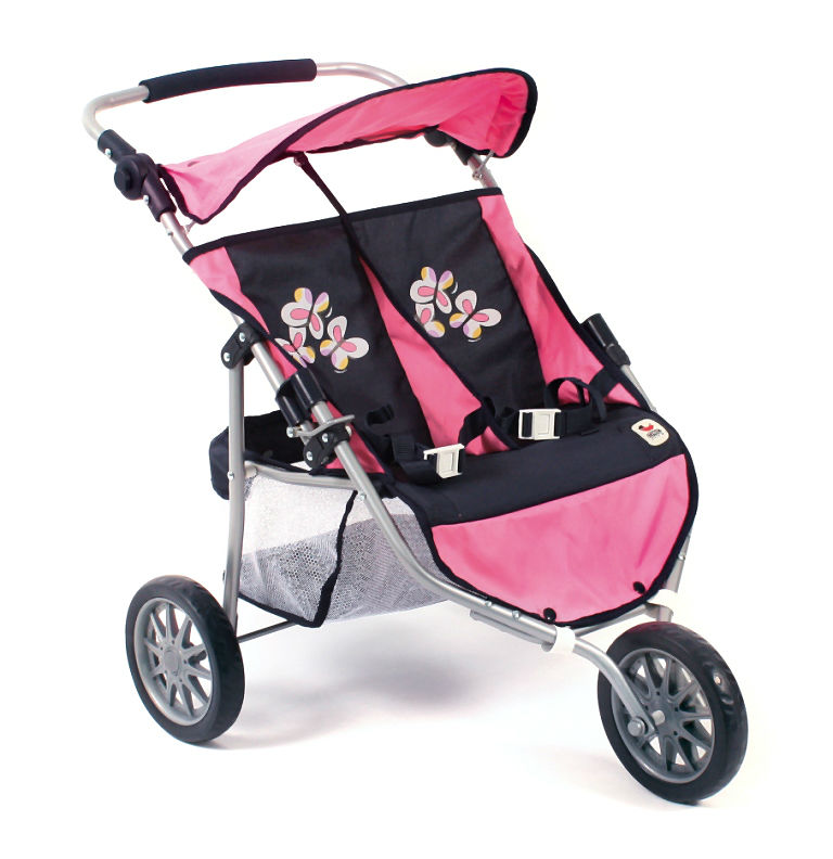 Tweeling poppenwagen buggy Jogger Pink Checkered