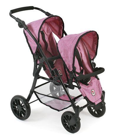 Tweeling poppenwagen Twinny Pink Jeans