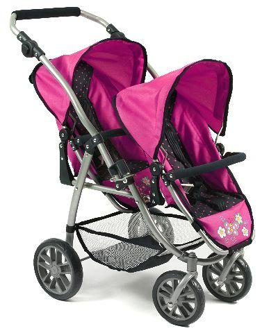 Tweeling poppenwagen Vario Dots Navy Pink