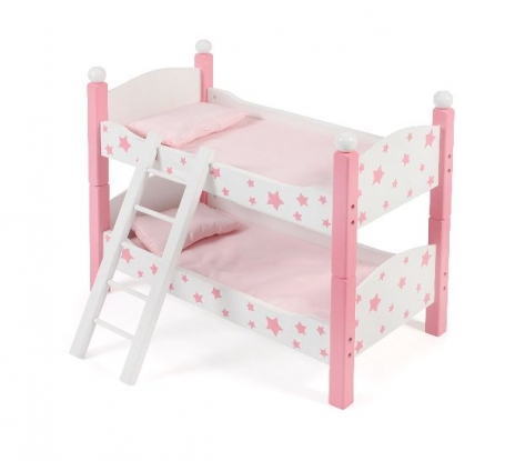 Houten Poppen Stapelbed Stars Pink