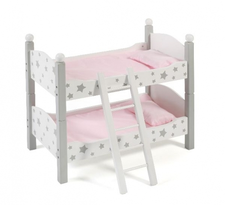 Bayer Chic 2000 - Houten Poppen Stapelbed - Grey Stars