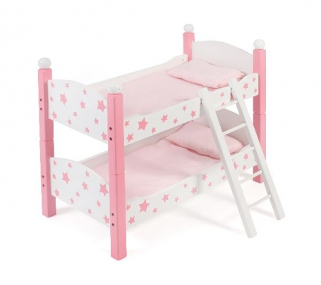 Houten Poppen Stapelbed Stars Pink 51388
