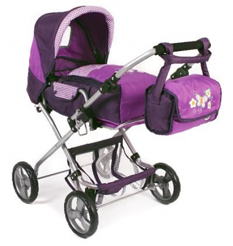 Luxe Poppenwagen Bambina Purple Checker