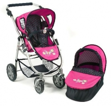 Combi Poppenwagen Emotion 2 in 1 Dots Navy Pink 63812