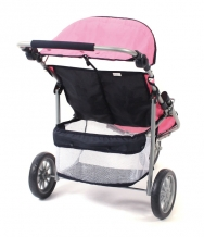 Bayer Chic 2000 - Tweeling poppenwagen buggy Jogger - Pink Checkered