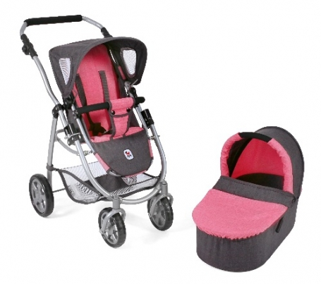 Bayer Chic 2000 - Combi poppenwagen Emotion 2 in 1 met reiswieg - Melange Antraciet Pink