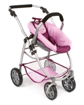 All in One poppenwagen met reiswieg en Maxi Cosi  Dots Brombeere