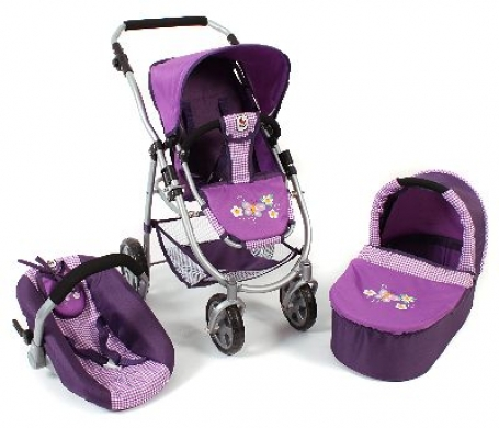 All in 1 combi poppenwagen Emotion - Purple Checkered