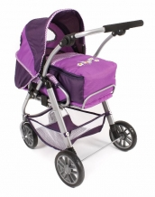 Combi poppenwagen Lino - Purple Checkered
