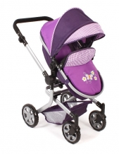 Combi Poppenwagen Mika Purple Checker